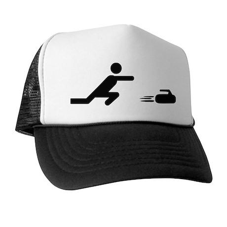 black curling logo curl symb Trucker Hat