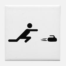 black curling logo curl symb Tile Coaster