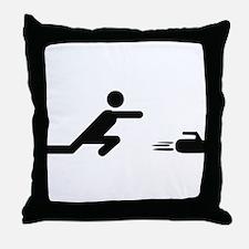 black curling logo curl symb Throw Pillow