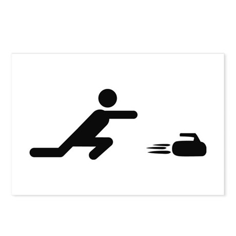 black curling logo curl symb Postcards (Package of