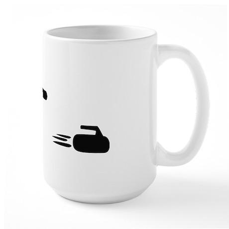 black curling logo curl symb Large Mug