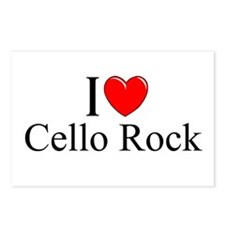 """""""I Love (Heart) Cello Rock"""" Postcards (Package of"""
