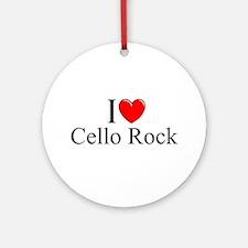 """""""I Love (Heart) Cello Rock"""" Ornament (Round)"""