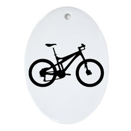 black mountain bike bicycle Oval Ornament