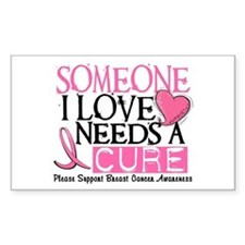 Needs A Cure BREAST CANCER Rectangle Decal