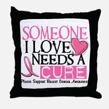 Needs A Cure BREAST CANCER Throw Pillow