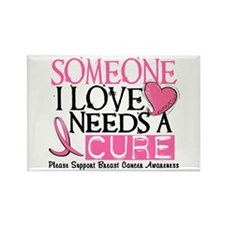 Needs A Cure BREAST CANCER Rectangle Magnet (10 pa