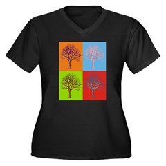 Warhol Print Tree Women's Plus Size V-Neck Dark T-