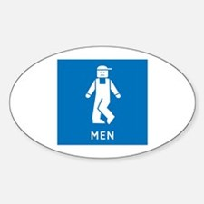 Public Toilet Men, California, USA Oval Decal