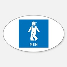 Public Toilet Men, California, USA Oval Decal