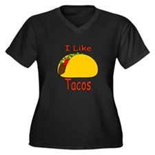 I Like Tacos Women's Plus Size V-Neck Dark T-Shirt