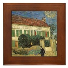 Van Gogh White House at Night Framed Tile
