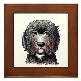 Goldendoodle black Framed Tiles