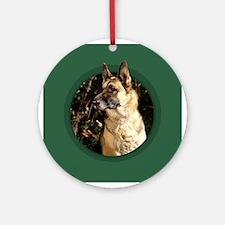 German Shepherd Green Round Ornament