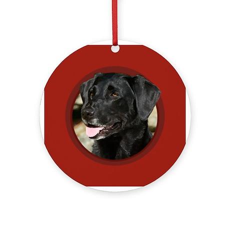 Black Labrador Red Round Ornament