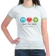 """""""peace. love. recycle"""" T"""