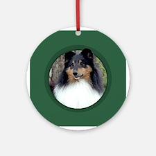 Tri-Color Sheltie Green Round Ornament
