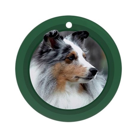 Blue Merle Sheltie Green Round Ornament