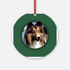 Sheltie Art Green Ornament (Round)