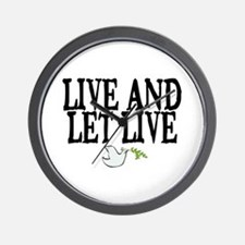 LIVE AND LET LIVE (DOVE) Wall Clock