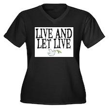 LIVE AND LET LIVE (DOVE) Women's Plus Size V-Neck