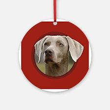 Weimaraner Red Round Ornament