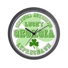 Lucky Georgia Leprechaun Wall Clock