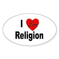 I Love Religion Oval Decal
