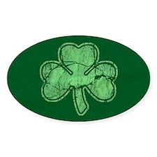 Retro St Patricks Day Shamrock Oval Decal