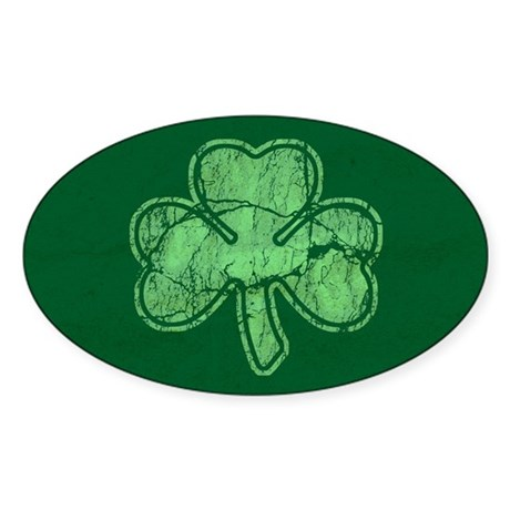 Retro St Patricks Day Shamrock Oval Sticker