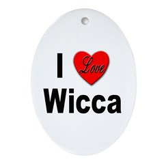 I Love Wicca Oval Ornament