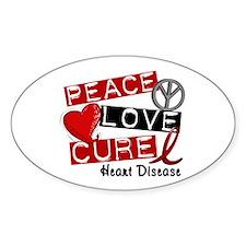 PEACE LOVE CURE Heart Disease Oval Decal