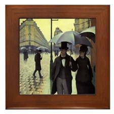 Paris Street Rainy Day by Caillebotte Framed Tile