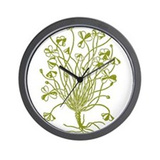 Vintage Shamrock Illustration Wall Clock