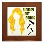 Blondes Not Bombs Framed Tile