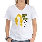 Blondes Not Bombs Women's V-Neck T-Shirt