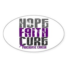 HOPE FAITH CURE Pancreatic Cancer Oval Decal