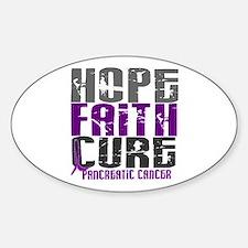 HOPE FAITH CURE Pancreatic Cancer Oval Decal