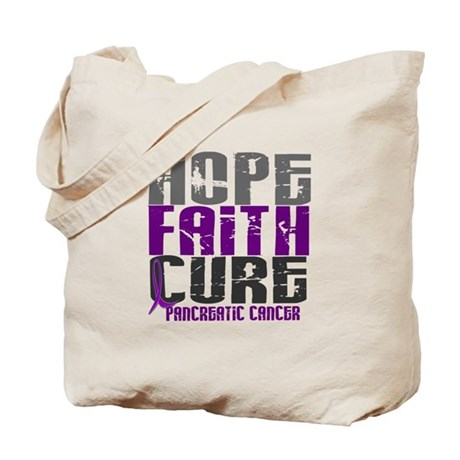 HOPE FAITH CURE Pancreatic Cancer Tote Bag