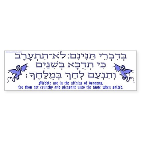 Affairs of Hebrew Dragons Bumper Sticker