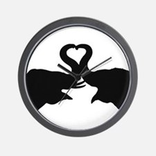 Love Elephant Valentine Wall Clock