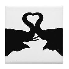 Love Elephant Valentine Tile Coaster