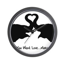 Make Love Heart Elephant Vale Wall Clock