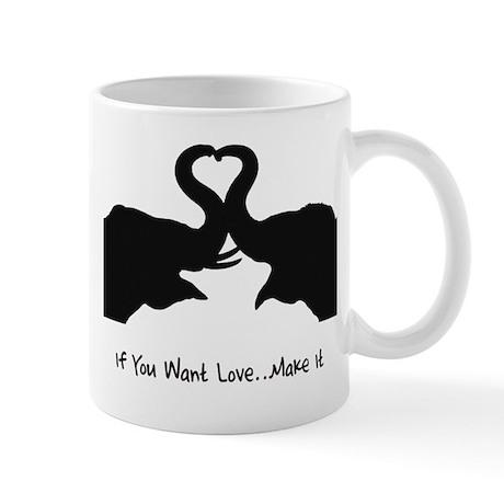 Make Love Heart Elephant Vale Mug