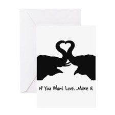 Make Love Heart Elephant Vale Greeting Card