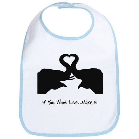 Make Love Heart Elephant Vale Bib