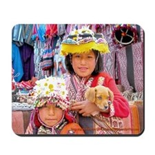 Puppy Love ... Peruvian Kids with Pup - Mouse Pad