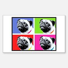 Pug Warhol Rectangle Decal