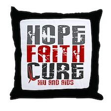 HOPE FAITH CURE AIDS / HIV Throw Pillow