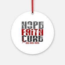 HOPE FAITH CURE AIDS / HIV Ornament (Round)